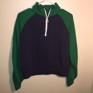 Forever 21 green and navy blue haft zip